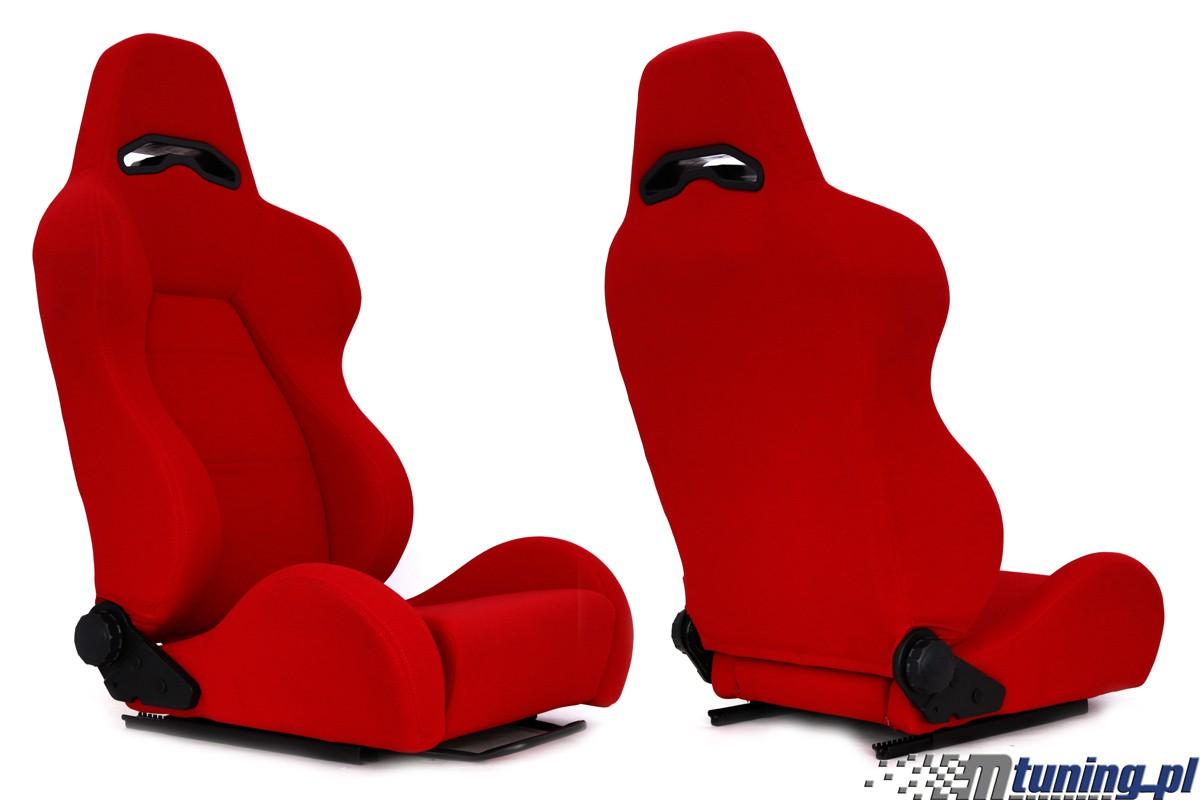 Fotel sportowy DRAGO Welur Red - GRUBYGARAGE - Sklep Tuningowy